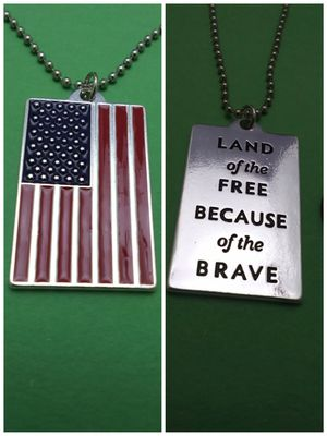 2 Sided Metallic Flag Necklace for Sale in Grove City, OH