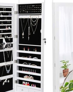 Jewelry Armoire Jewelry Organizer with Full Mirror Lockable Jewelry Cabinet Wall Door Mounted Jewelry Box with Hanging Hooks, 2 Storage Drawers,White for Sale in Chula Vista,  CA