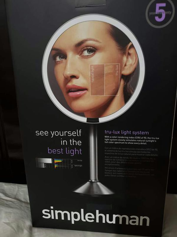 """simplehuman Sensor Lighted Makeup Vanity Mirror Pro 8"""" Round, 5X Brushed Stainless Steel, Rechargeable and Cordless."""