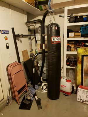 Ringside 100lb Muay thai punching bag and everlast 2 station stand for Sale in Las Vegas, NV