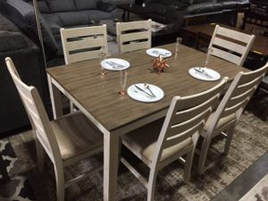 7 PC Modern Dining Set, Whitewash for Sale in Santa Fe Springs, CA
