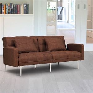 Modern Brown Linen Futon Sofa Bed Couch with Metal Legs.FF-765788885567FS. for Sale in San Francisco, CA