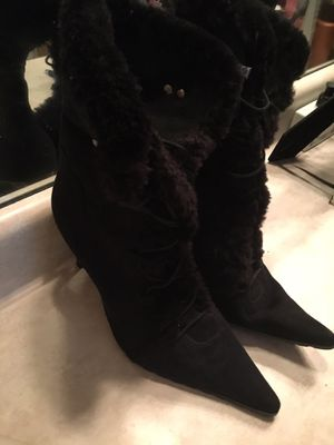 Black Suede Fur Top Boots - Size 8 for Sale in Ellenwood, GA
