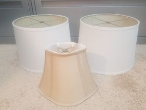 3 lamp shades white tan for Sale in Tampa, FL