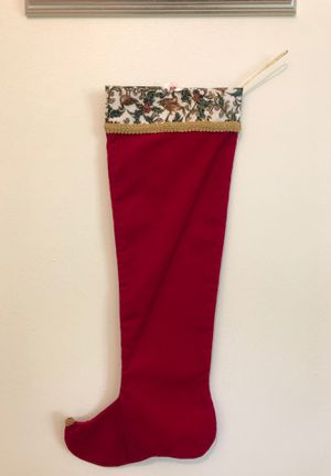Elf Christmas stocking in red velour, beautiful fabric & gold braid trim with custom beaded toe. for Sale in Columbia, MO