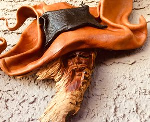 original wall art wood leather sculpture H13xW11xD3 inch for Sale in Chandler, AZ