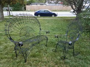 Antique Vintage Patio 2 Piece Set Peacock Wrought Iron Furniture Rocking Chair Bench Loveseat Settee Black Metal Outdoor Porch Victorian Style for Sale in Baltimore, MD
