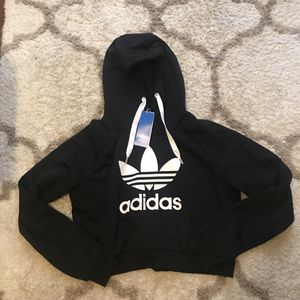 Adidas black cropped hoodie size L for Sale in Peabody, MA