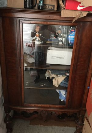 Antiques china cabinet w two matching chairs for Sale in Houston, TX