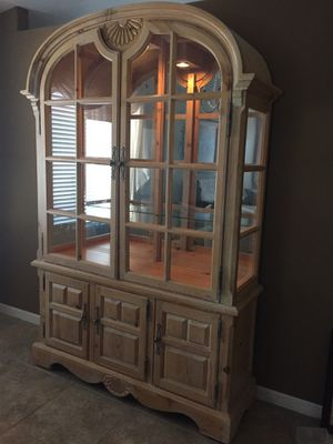 Antique mirrored wood & glass display cabinet for Sale in Tucson, AZ