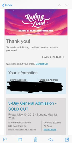 Rolling Loud Festival Ticket for Sale in Durham, NC