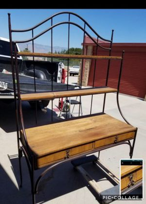Cast Iron w/wooden Chef Baker Rack for Sale in Loma Linda, CA