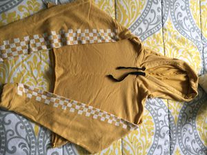 Yellow checkered hoodie/sweater crop top for Sale in Los Angeles, CA