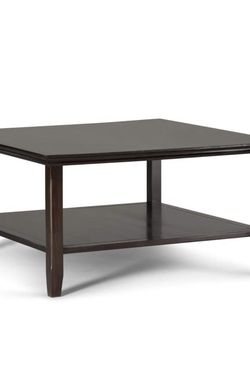 Simpli Home Acadian Solid Wood Square Coffee Table in Brunette Brown for Sale in Columbus,  OH