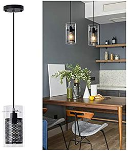 Modern Black Kitchen Light Fixture with Clear Glass and Metal Inner Shade, 1 Light Industrial Mini Pendant Lighting for Dining Room Farmhouse for Sale in Mesquite,  TX