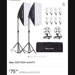 MOUNTDOG Softbox Lighting Kit 1600W Photography Professional Continuous Studio Lights Equipment with E27 5500K Bul for Sale in Hacienda Heights,  CA