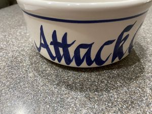 """CAT Bowl """"ATTACK CAT"""" in Blue Calligraphy Writing for Sale in Corona, CA"""