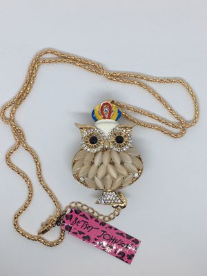 Betsey Johnson Owl Moonstone Pendant Necklace for Sale in Minneola, FL
