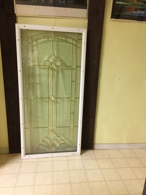 Upscale front door panel insert 24in. X 50 in. , steel frame white with decorative beveled glass . This is new, but our plans have changed and I cann for Sale in Reston, VA