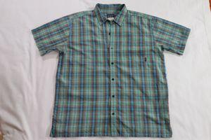 Patagonia Men's XL Casual Dress Shirt Teal Blue Purple Orange Bubble Textures for Sale in Houston, TX