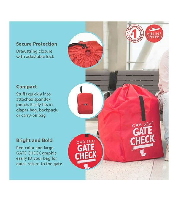 Childress Gate Check Bag for Car Seats - Air Travel Bag - Fits Convertible Car Seats, Infant carriers & Booster Seats, Red
