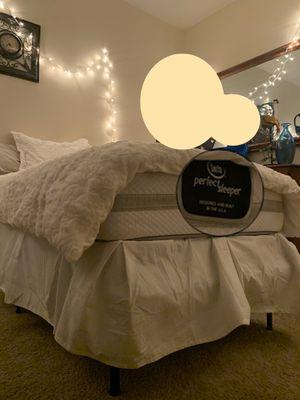 Bedroom: Twin XL Serta Perfect Sleep Mattress w/ White Plush Comforter Set + Twin XL Box Spring & Frame + Wood Dresser w/ Mirror + Cielo TV w/ Amazon for Sale in San Diego, CA