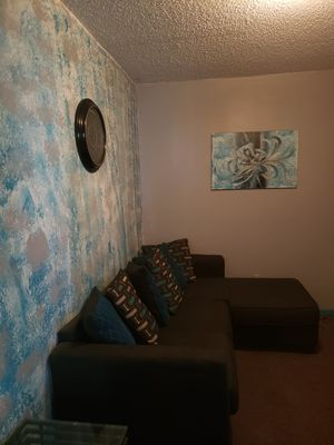 Great Sectional with wall picture and clock also 2 end tables.... MUST GO NOW MOVING IN ONE WEEK!!! for Sale in Miami, FL