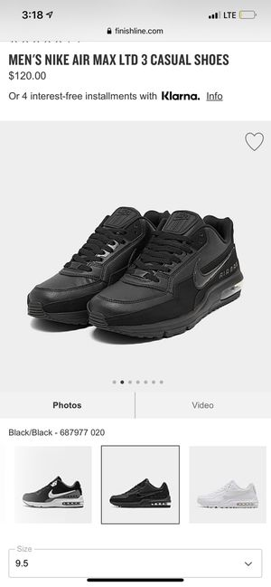 Nike air max ltd 3 black. Size 9.5 for Sale in Webberville, TX