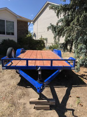 Flat bed trailer 7ft x18ft deck 2 ft dove tail for Sale in Colorado Springs, CO