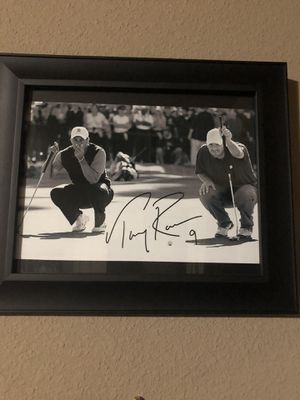 Tony Romo 8x10 autographed photo with Tiger Woods for Sale in College Station, TX