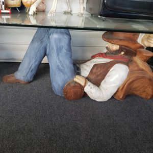 Cowboy coffee table glass top. for Sale in East Wenatchee, WA
