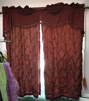 Draperies with burnished drapery rods fully lined very new for Sale in Houston, TX