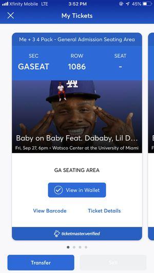 Tickets . for Sale in Savannah, GA