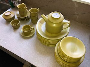 VINTAGE Mid-century Modern Olive Green dinnerware and Tea Set 1950s to 1960s for Sale in Bellingham, MA