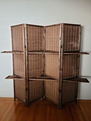 Brown 4 Panel Bamboo Folding Privacy Room Divider Screen for Sale in West Menlo Park, CA