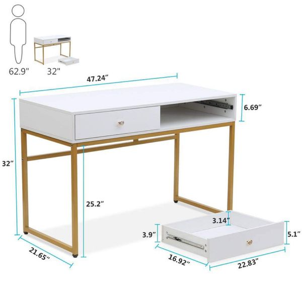 Modern White With Gold Desk- Computer Desk - Vanity Table