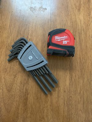 Multiple Allen wrenches and 25 ft measuring tape for Sale in New York, NY