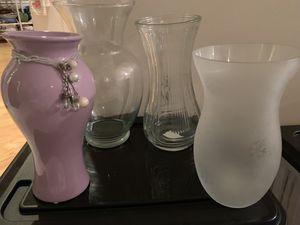 Set of 4 different flower vases!! for Sale in Germantown, MD