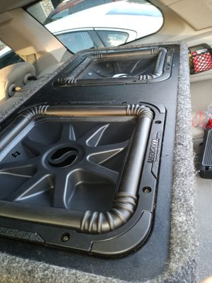 """2 12"""" inch solar baroc L7 and an L3 and a 500 watt Rockford amp for Sale in Denver, CO"""