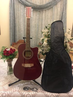 De Rosa 12 string electric acoustic guitar with dog case strap cable and pick for Sale in South Gate, CA
