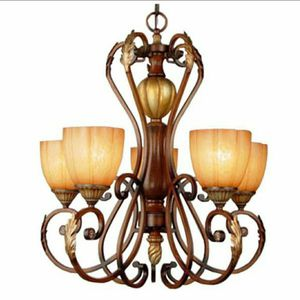 Chateau Deville 5-Light Walnut Chandelier with Champagne Glass Shades for Sale in Las Vegas, NV