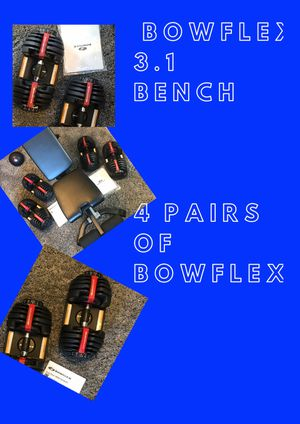 BOWFLEX SELECT-TECH 552 DUMBBELLS & BENCH. PERFECT WEIGHT WORKOUT EXERCISE SET for Sale in Las Vegas, NV