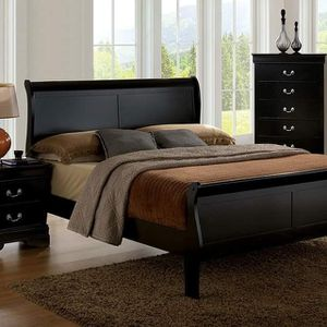 BLACK FINISH 3 PIECE BEDROOM SET QUEEN SIZE BED NIGHT STAND CHEST / RECAMARA 3 PIESAS CAMA BURO MESA GABETA for Sale in North Hollywood, CA