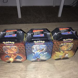 Pokémon Hidden Fates tins set of 3🔥 Charizard, Gyrados and raichu Sealed for Sale in Fountain Valley, CA