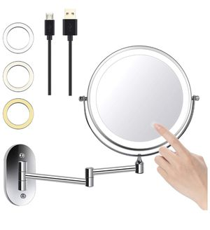 """8"""" LED Wall Mounted Makeup Mirror 3 Color Mode USB Charge Touch Screen Adjustable Light Double Sided 1X/5X Magnifying Vanity Mirror Swivel Extendabl for Sale in Orlando, FL"""