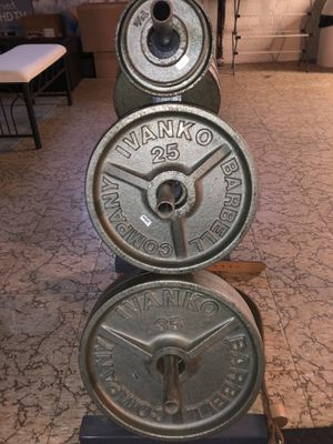 Ivanko weight plates part of top of the line gym set for Sale in Oak Park, MI