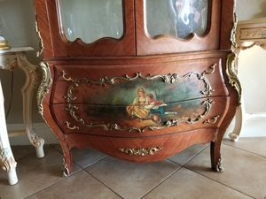 Beautiful antique curio cabinet hand painted for Sale in Miami, FL
