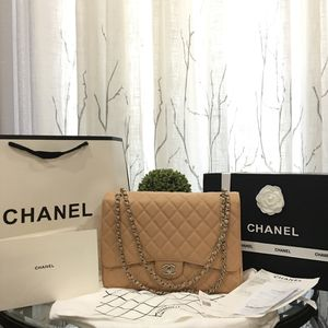 d61393e5513dad Dark beige maxi size double flap bag chanel silver hardware for Sale in Los  Angeles,