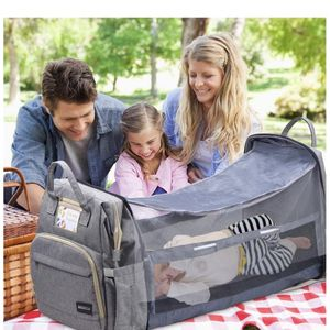 Diaper Bag Backpack with Mosquito Net & Foldable Crib, 3 in 1 Baby Travel Bag with 3 Skin Friendly Changing Pad for Newborns, USB Port, 6 Gallon Capac for Sale in North Brunswick Township, NJ
