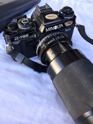 MIOLTA X-700 RARE FILM CAMERA WITH 50 & 100MM LENS & FLASH for Sale in San Diego, CA